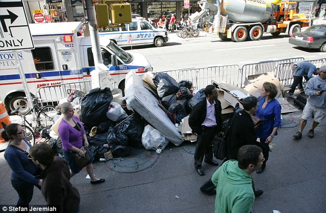 Smelly: Trash builds up at the Occupy Wall Street demonstrations