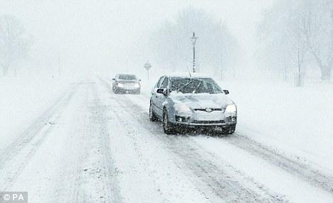 Big freeze: Cars battle snowy weather in December last year