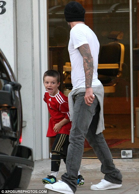 David Beckham Takes His Sons To The Barbers In West