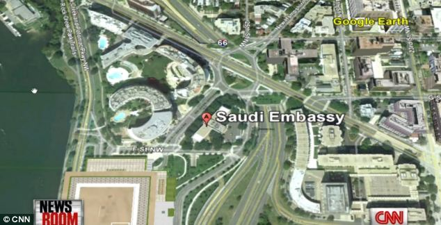The Saudi Embassy is located next to the Watergate complex in Washington DC