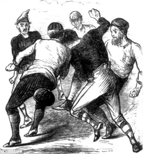 Etchings from the first ever international football game