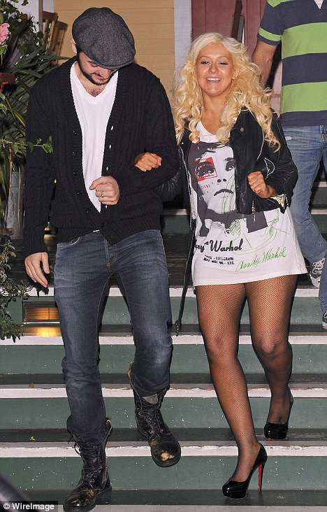 Forgotten something? Christina Aguilera looked like she forgot her trousers as she and boyfriend Matt Rutler enjoyed a romantic meal at Off Vine in Hollywood last night