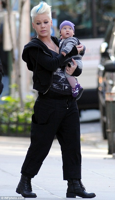 Its good to share: Pink showed off her daughter Willow Sage as she walked on to the set of her new movie Thanks For Sharing in New York today