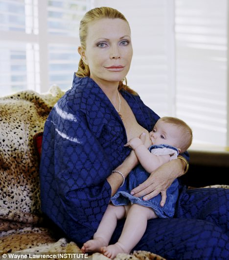 Fiona Palin, 49, with daughter Kiki, 5 months, at their home in Marina del Rey California