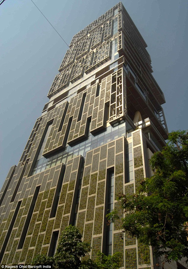 Abandoned: The 27-storey Antilla, built by Mukesh Ambani in Mumbai, India, is still uninhabitated reportedly because it its billionaire owner believes it would be bad luck if he moved in
