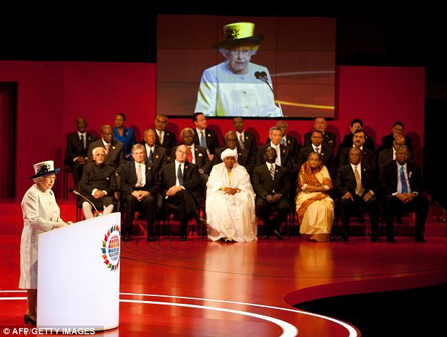 The Queen makes the opening speech for the Commonwealth summit as leaders of member countries look on