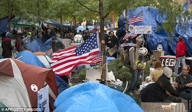 Day 46: The Occupy Wall Street encampment pictured today from nearby Zuccotti Park
