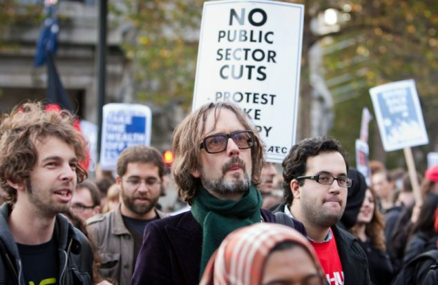 Musician Jarvis Cocker was seen marching among the students in today's protest in London