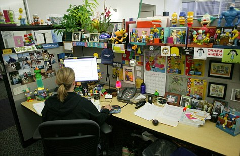 A typical Googler's cubicle. The company is known for attracting high-powered - but often eccentric - 'ideas people'