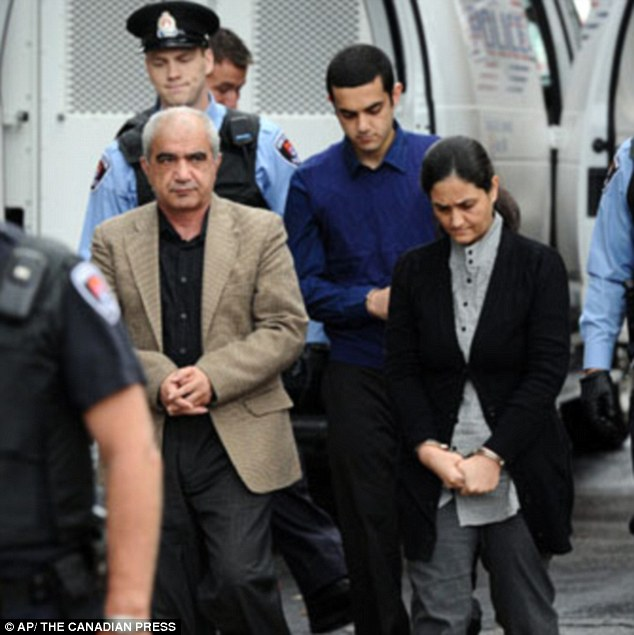 Pictured: Mohammad (left) and Hamed Shafia (center), and Tooba Mohammad Yahya (right) were first brought to court when the trial began in December, and now continue to tell their side of the story