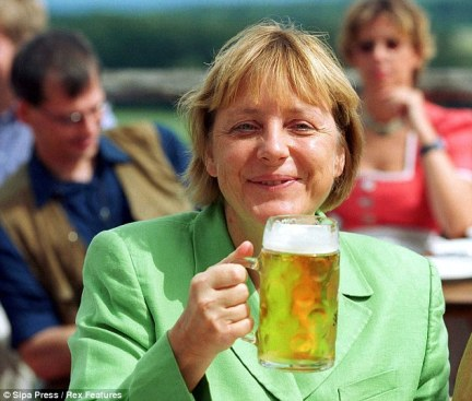 Rise to the top: Merkel pictured in 2002 at the monastery in Andechs, Germany, three years before she became Chancellor