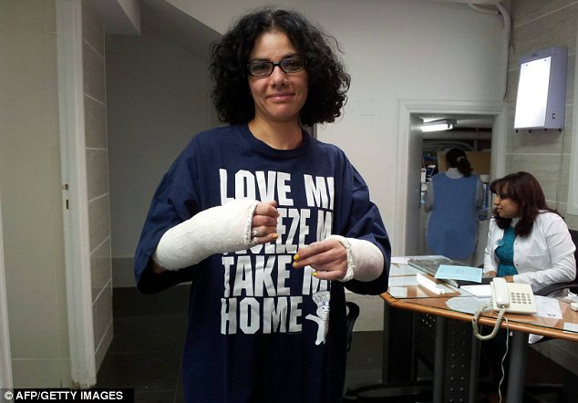 Broken and battered: Mona Tahawy was brutally assaulted last year