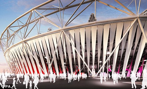 Curtain: An artist's impression of how the Olympic Stadium will look with the a £7m fabric wrap made by Dow Chemicals