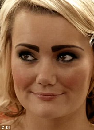 Before and after: The poor unsuspecting model who was given the 'Scouse brow' on last night's premiere episode of Desperate Scousewives