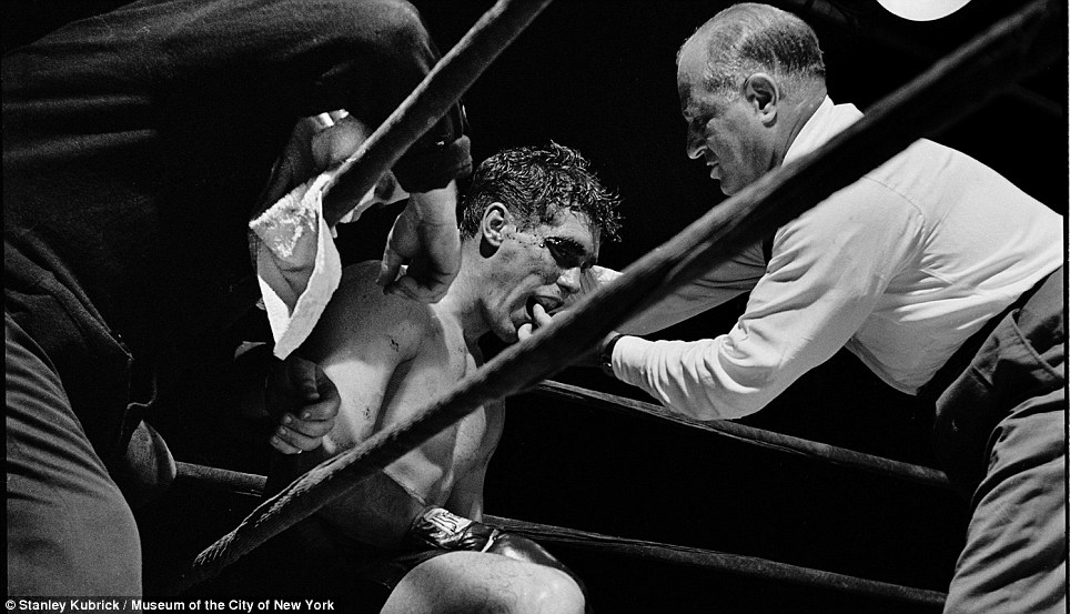Noble art: Boxer Walter Cartier catches his breath between rounds in 1948. Three years later, Cartier starred in Kubrickїs first film Day Of The Fight