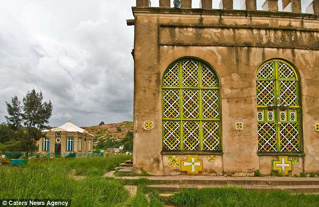 The Chapel of the Tablet in Ethiopia that has the leaking roof. The St Mary of Zion church can be seen in the background