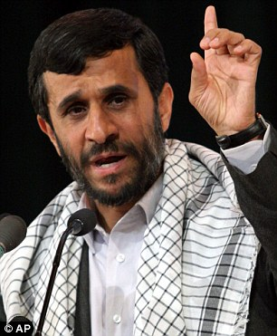Defiant: President Mahmoud Ahmadinejad has said he country will not budge from its nuclear programme, which he insists is for peaceful means