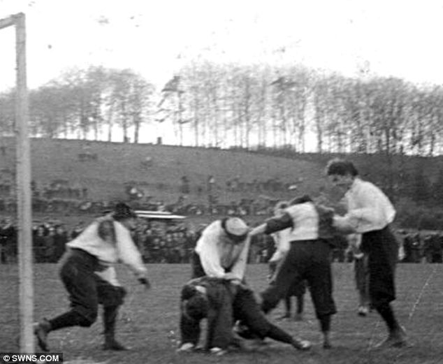 Kicking against oppression: Mrs Graham's XI, pictured training in Loakes Park in 1895, are even credited with helping women get the vote