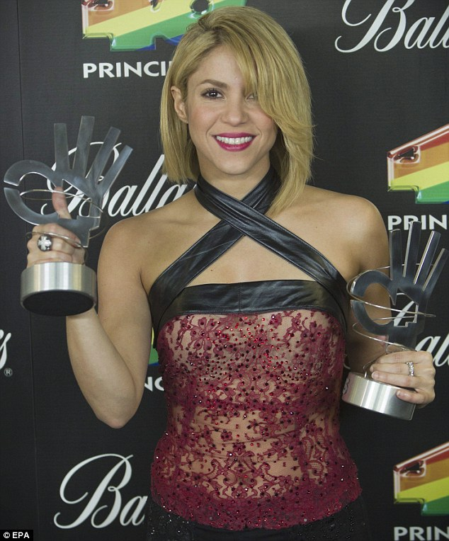 Award-winner: Shakira picked up the trophies for most influential Latin artist and best foreign artist in the Spanish language award