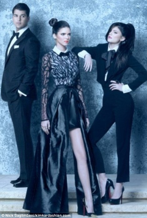 Kardashian Christmas Card 2011 Kim Wears Sleek Tuxedo On