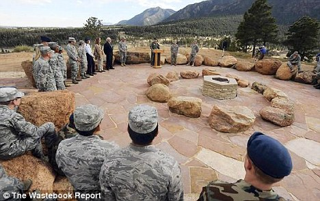 Religious sensitivity: The Air Force Academy spent more than $50,000 building this Stonehenge-like worship centre for pagan cadets