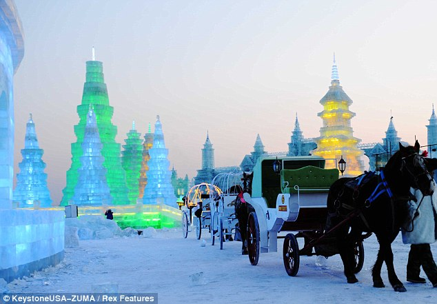 Taking the scenic route: Rows of ice pagodas line one of the park's central roads