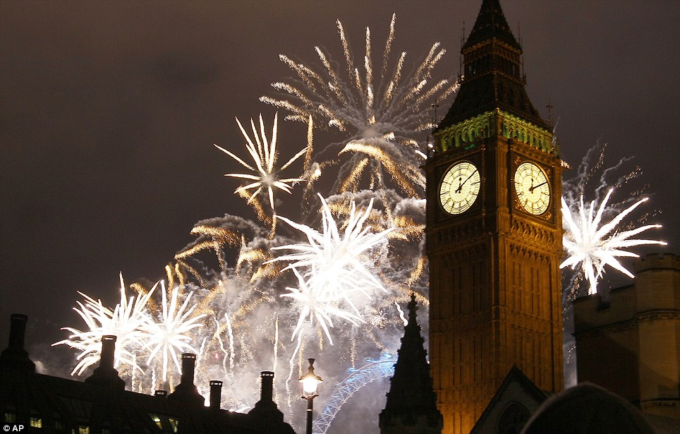 New Year s Eve London fireworks display ushers in 2012   Daily Mail     LONDON  The new year will host the Diamond Jubilee and the Olympic Games