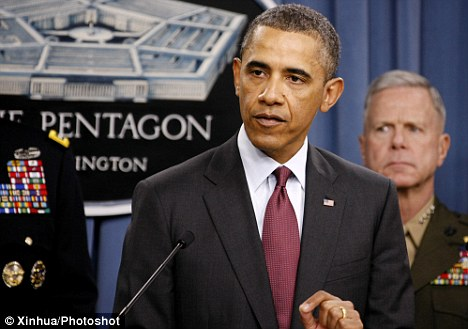 President Obama speaking during a media briefing at the Pentagon where he vowed to strengthen military presence in the Asia-Pacific