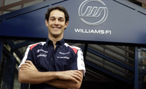 Family affair: Bruno Senna poses outside Williams HQ