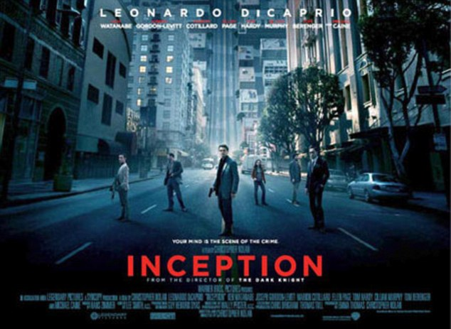 Modern day: The real poster for Inception leads with the tagline, 'Your mind is the scene of the crime'