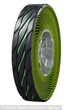 Early stages: Bridgestone say the tyre, which is made from recyclable materials is some way from being available for use on cars