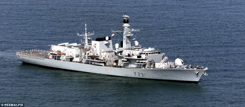 British warship: HMS Argyll, the Type 23 frigate, which joined the U.S. vessels (file photo)