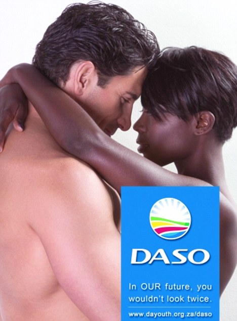 Controversial: This poster released by a South African political party showing an interracial couple embracing has sparked huge debate in the country