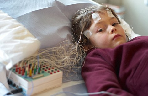 Child undergoing an EEG brain scan: Previous generations of the technology were cumbersome and too unwieldy to be worn - but the idea of brain scanning helmets is no longer far-fetched
