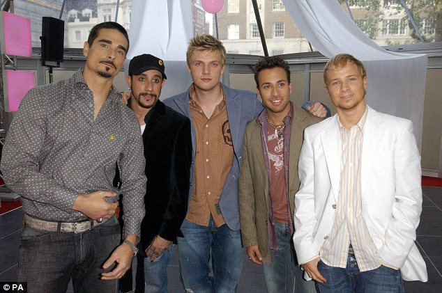 Heartthrobs: Nick, seen centre, was part of The Backstreet Boys