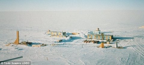 Base of operations: The Russians are operating out of the Vostok Station, pictured here, which opened in December 1957