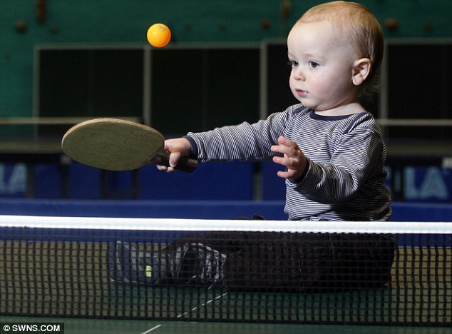 Serving up a storm: Table tennis ace Jamie Myska-Buddell has become an overnight internet sensation after a short film was uploaded of him playing on YouTube