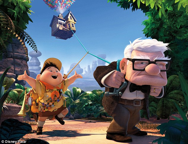 Animation: The hit 2009 film 'Up' featured 78-year-old Carl Fredricksen, right, going on the trip of his life with Russell, left, to see South America by tying thousands of balloons to his home, top