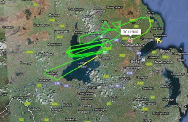Flight path: The plane circled over Lough Neagh before making is final descent