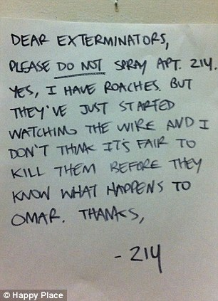 Orders: The residents in 214 are considerate enough to leave a note when something's bugging them