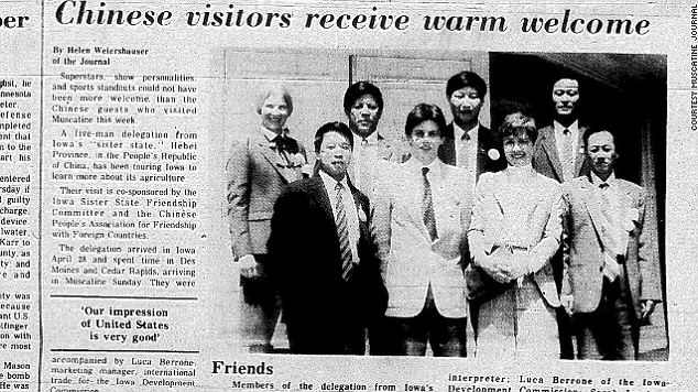 Down memory lane: The Muscatine Journal ran a photograph of Xi Jinping's visit to the Iowa farm town as an agriculture official in 1985. Little did he know he would be China's next leader