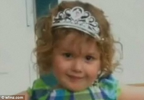 Savagely beaten: Kamryn Hummel, two, had a fractured skull and bruising all over her body after her stepfather's prolonged attacks