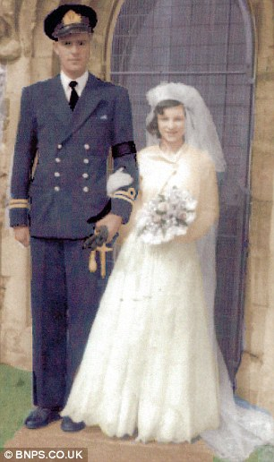 The happy couple on their wedding day in 1952