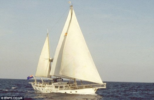 Boat number one: The couple's first boat, called Fare Well, at sea in Spanish waters, in 1977