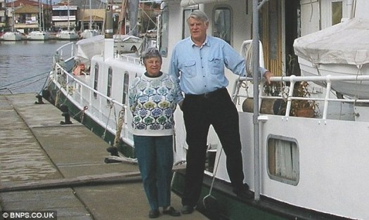 Laurel and Bill stand infront of the 87ft barge Hosanna in Levkas, Greece, in 2005