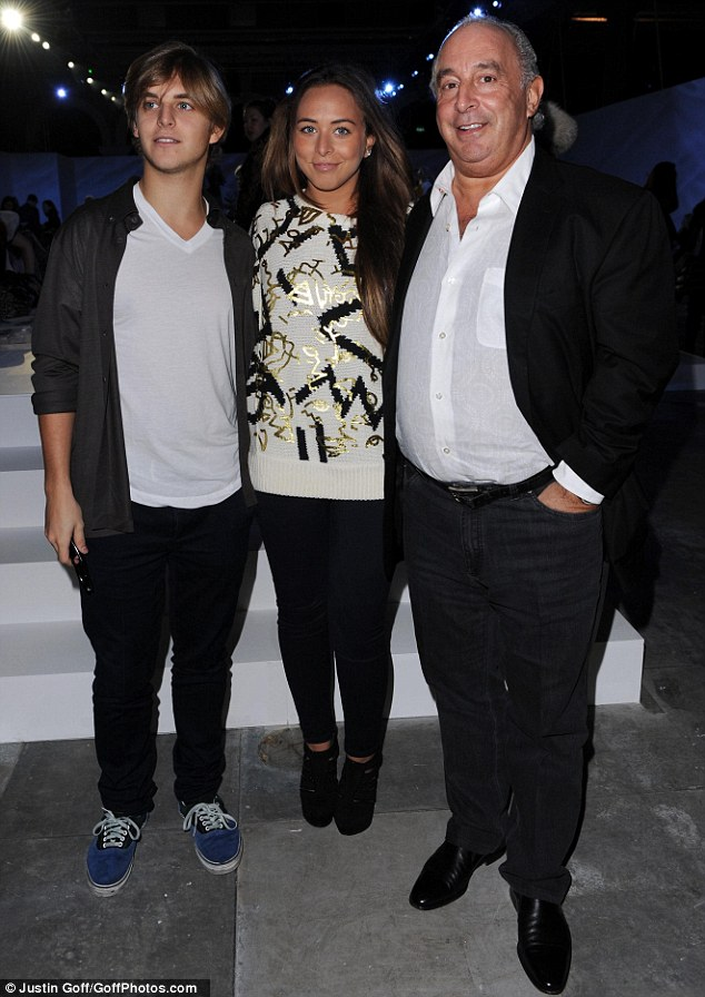 Top family: Sir Philip Green with his children Chloe and Brandon