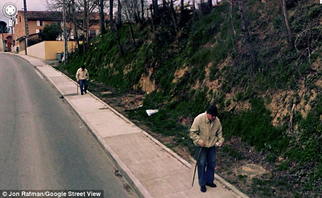 Double take: An elderly gentleman can be seen twice on the Rue Valette, a street in the town of Pompertuzat, near Toulouse. The effect can happen because of the nine cameras mounted on the car all taking an image at the same time