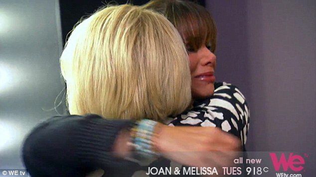 Mother love: Joan tries to calm her sobbing daughter down after she broke down in her arms