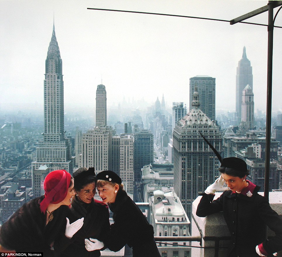 Ladies who lunch: Models hover over New York City in hat fashions of 1949 in this photo shot by Norman Parkinson