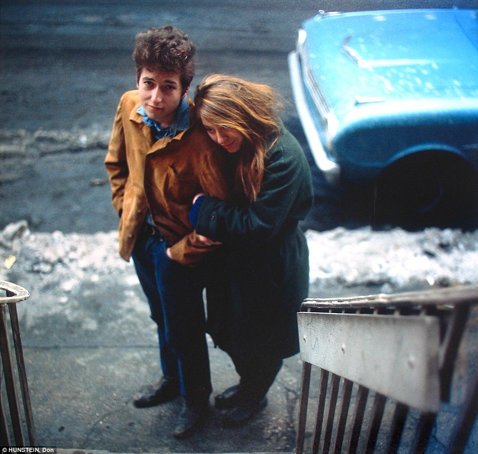 Music man: Bob Dylan and his muse, artist Suze Rotolo, walk down West 4th Street in Greenwich Village, 1961